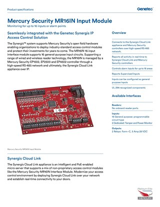 Mercury MR16IN Input Panel datasheet