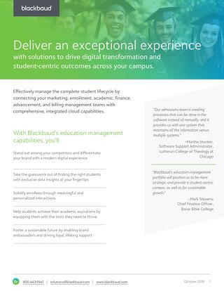 Blackbaud's Education Management Portfolio Datasheet for Faith Institutions