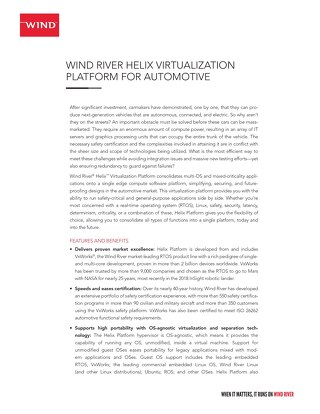 Helix Virtualization Platform for Automotive Product Overview