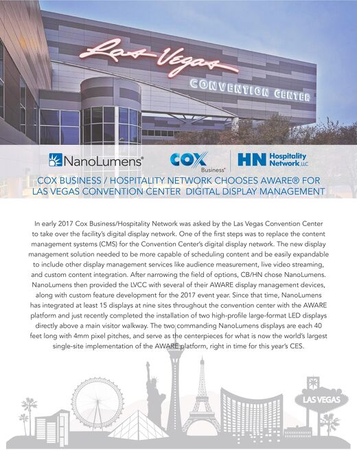 Cox Business / Hospitality Network Chooses AWARE For Las Vegas Convention Center Display Management