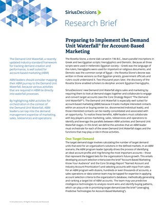 Preparing to Implement the Demand Unit Waterfall for Account Based Marketing
