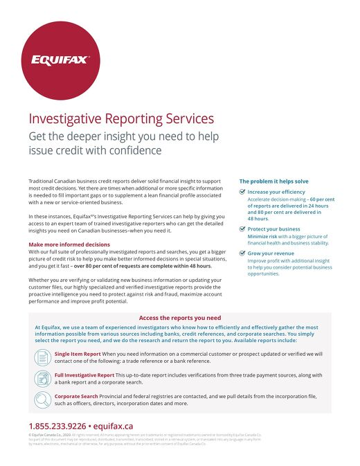Investigative Reporting Services - Product Sheet - Canada - EN