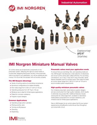 Miniature Manual Valves Flyer - z8558FL