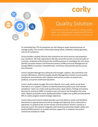 Product Sheet - Quality Solution