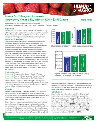 Huma Gro Program Increases Strawberry Yields 14%, Field Trial Holden 2 (HG) ENG