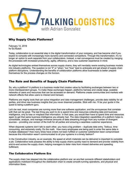 """""""Why Supply Chain Platforms?"""" Featured on Talking Logistics with Adrian Gonzalez"""