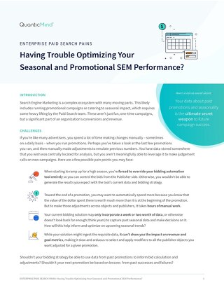 Having Trouble Optimizing Your Seasonal and Promotional SEM Performance? [Pains Series Doc]