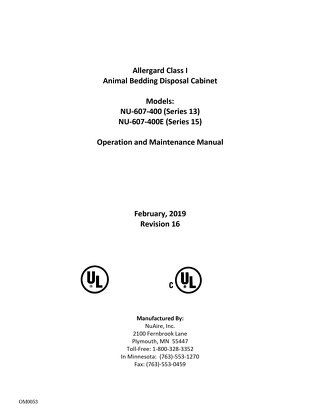 [Manual] AllerGard NU-607 Class I Animal Bedding Disposal Cabinet
