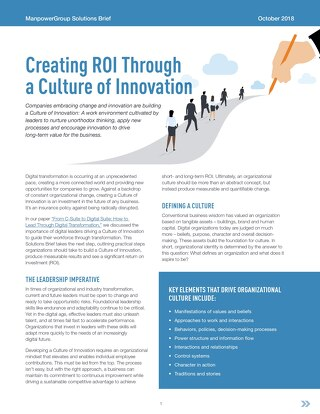 Creating ROI Through  a Culture of Innovation
