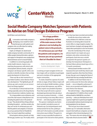 Social Media Company Matches Sponsors with Patients to Advise on Trial Design Evidence Program