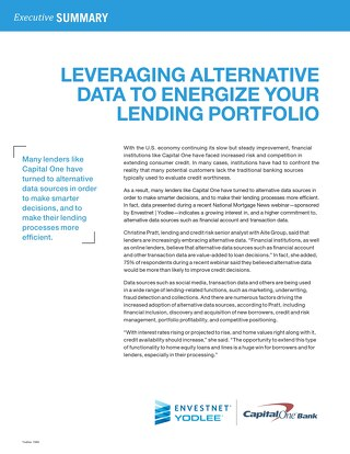 Leveraging Alternative Data to Energize your Lending Portfolio
