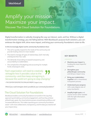Cloud Solution for Community Foundations Datasheet