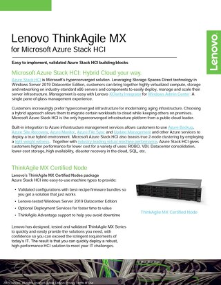 Lenovo ThinkAgile MX  for Microsoft Azure Stack HCI