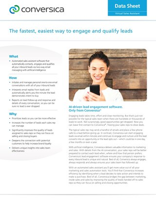 Lead Engagement Software - Conversica Datasheet