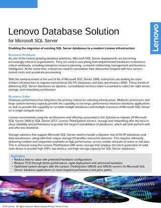 Lenovo Database Solution for Microsoft SQL Server