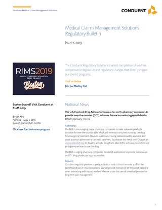 Conduent Regulatory Bulletin 2019 - Issue 1
