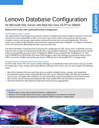 Lenovo Database Configuration for Microsoft SQL Server OLTP on SR650