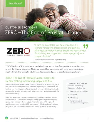 CUSTOMER STORY: Zero The End of Prostate Cancer Customer Story