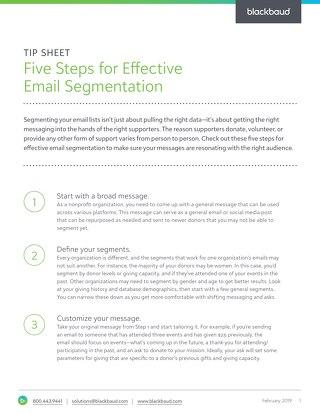 Five Steps for Effective Email Segmentation