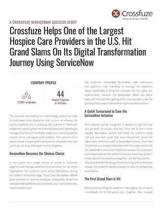 ServiceNow Success Story: Hospice Care Provider Hits Grand Slams on Its Digital Transformation Journey