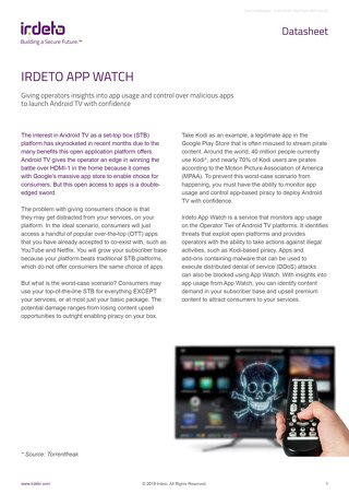 Datasheet: Irdeto App Watch