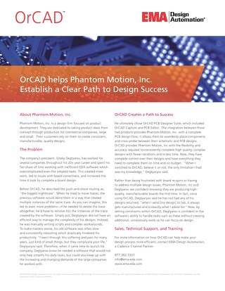 OrCAD helps Phantom Motion, Inc. Establish a Clear Path to Design Success