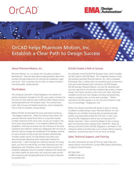 OrCAD helps Phantom Motion, Inc. Establish a Clear Path to Design Success
