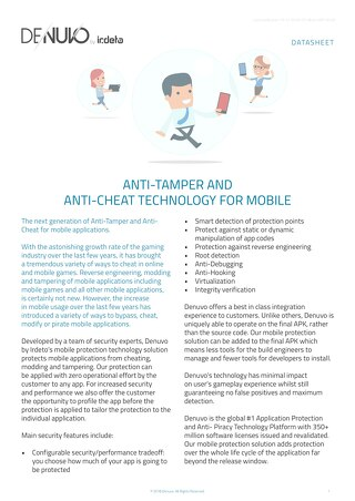 Datasheet: Anti-Tamper and Anti-Cheat Technology for Mobile