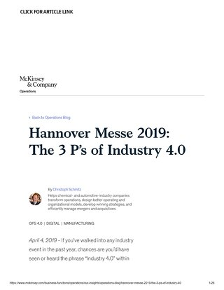 [Article Link] Hannover Messe 2019 | The 3 P's of Industry 4.0