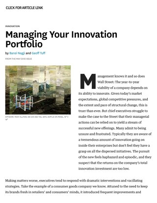 [Article Link] Harvard Business Review | Managing Your Innovation Portfolio