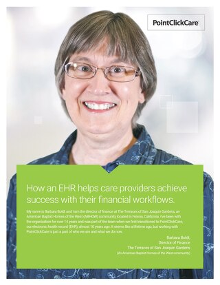Customer Story: How an EHR helps care providers achieve  success with their financial workflows
