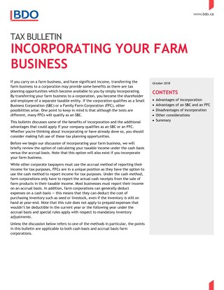 Tax bulletin - incorporating your farm business