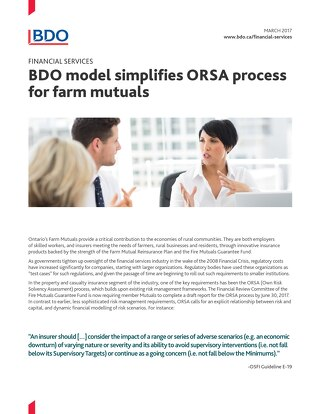 BDO model simplifies ORSA process for farm mutuals