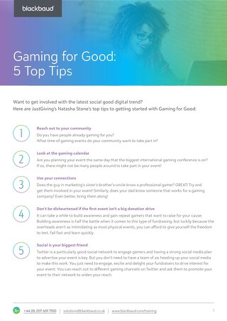 Gaming for Good Tipsheet