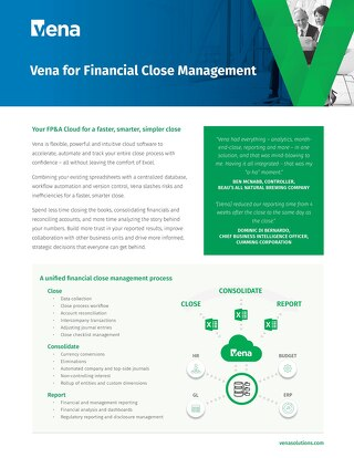 Vena for Financial Close Management