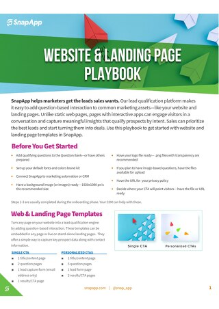 Playbook: Website and Landing Pages