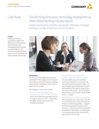 Case Study: Transforming eDiscovery Technology Deployment to Meet Global Banking Industry Needs