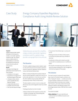 Case Study: Energy Company Expedites Regulatory Compliance Audit Using Mobile Review Solution