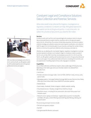 Conduent Legal and Compliance Solutions Data Collection and Forensic Services