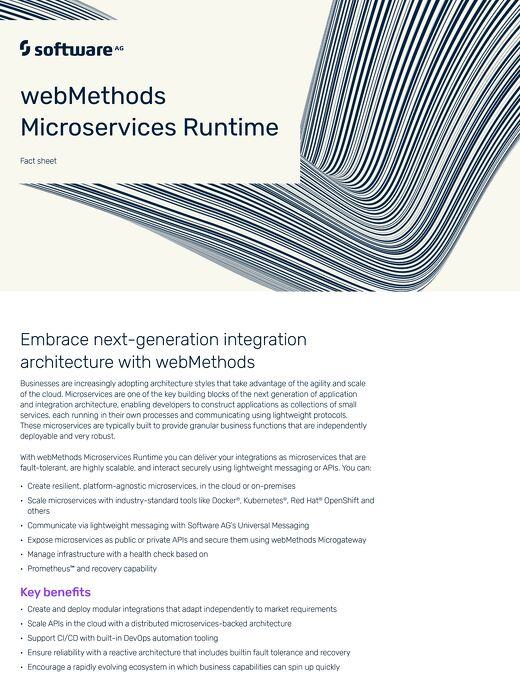 Facts about webMethods Microservices Runtime