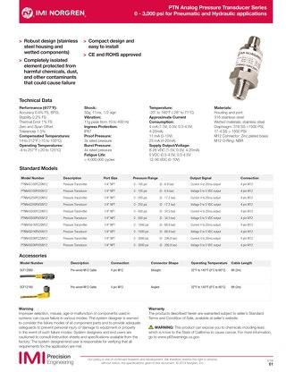 Pressure Transducer datasheet
