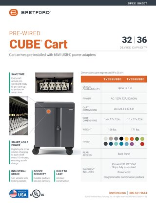 Pre-Wired CUBE Cart Spec Sheet