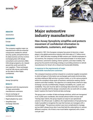Major automotive industry manufacturer