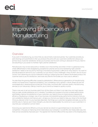 Improving Efficiencies in Manufacturing