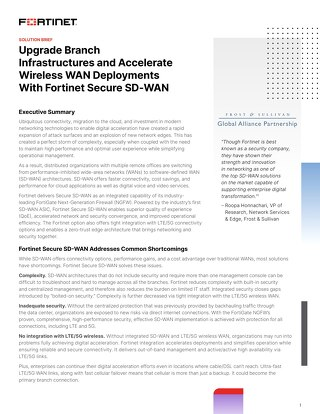 Upgrade Branch Infrastructures with Fortinet Secure SD-WAN