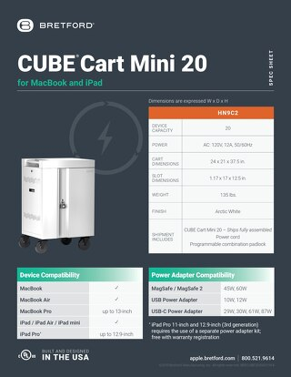 CUBE Cart Mini for MacBook and iPad Spec Sheet