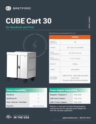 CUBE Cart for MacBook and iPad Spec Sheet