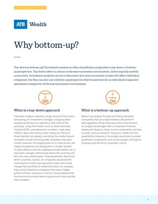 Why bottom-up?