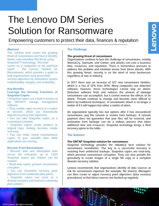 Solution brief: Lenovo DM Series Solution for Ransomware