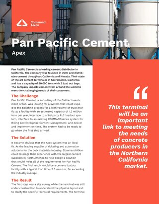 Pan Pacific Cement Apex Case Studies